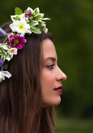 Woman wearing flowers in her hair